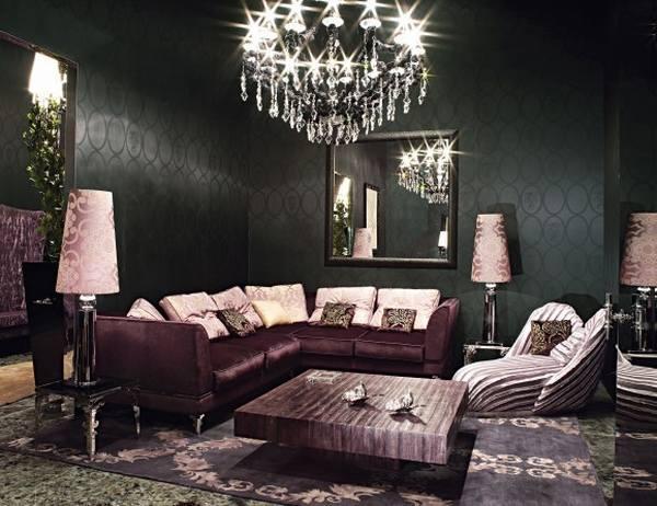 Аранжировки интерьера с применением фиолетовой мебели