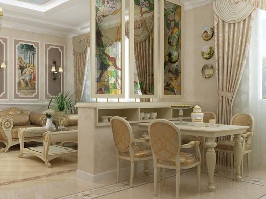 Оформление кухни и обеденной зоны в классическом стиле